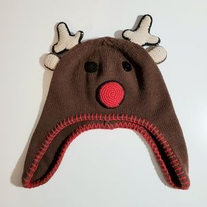 Hanna Anderson knitted winter Rudolph hat